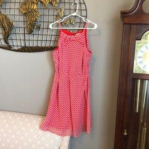 Orangey-red graphic print dress